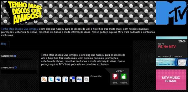 Blog do Tenho Mais Discos Que Amigos! no portal MTV Brasil