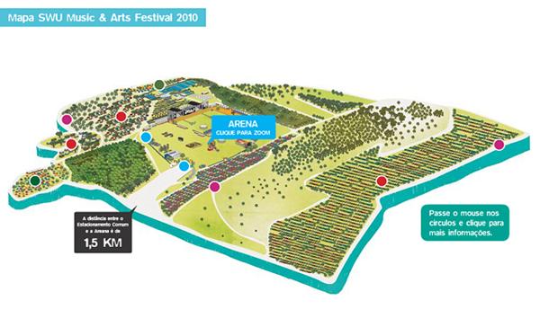 Mapa de atrações do festival SWU