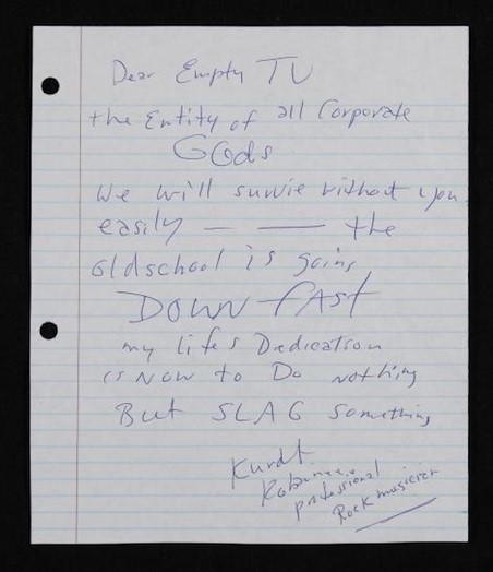 carta de Kurt Cobain para a mtv
