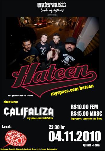 Cartaz Hateen e Califaliza em Florianopolis