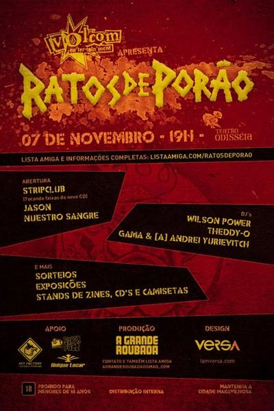 Volcom Tour 2010 do Ratos de Porão em novembro no RJ