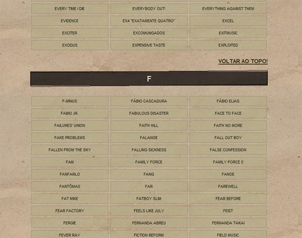 Lista de Bandas
