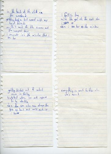 Rascunho original de The Rock Show escrito pelo Mark Hoppus