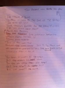 Rascunho escrito por Mark Hoppus para o Blink-182