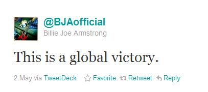 Comentário do Billie Joe Armstrong no Twitter
