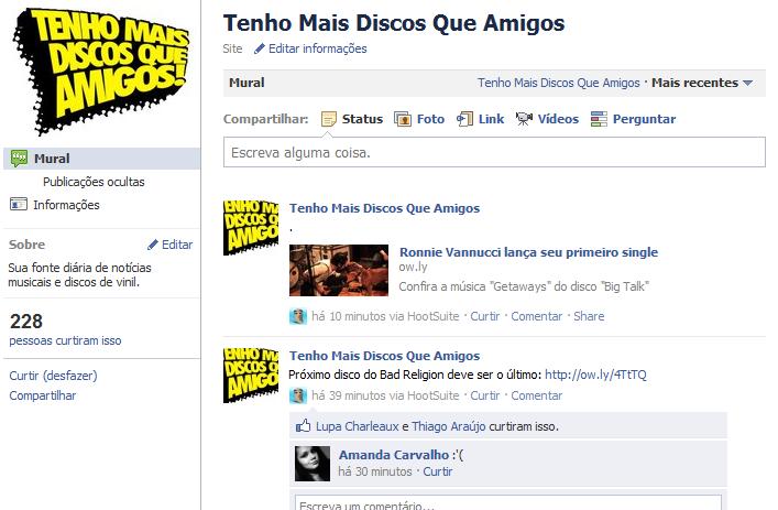 Página do TMDQA! no Facebook