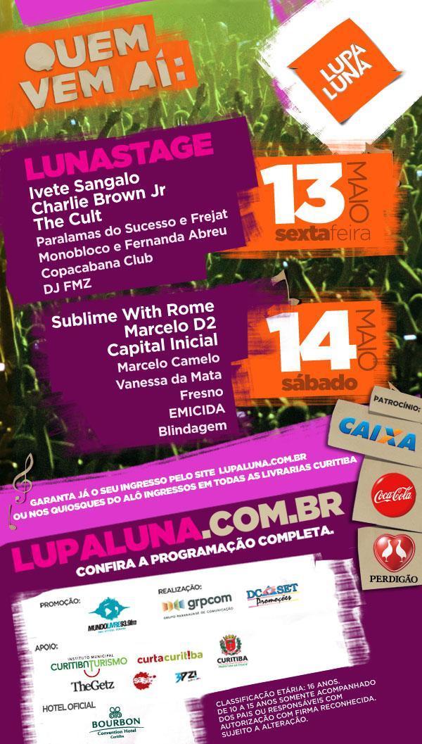 Concorra a ingressos para o festival Lupaluna