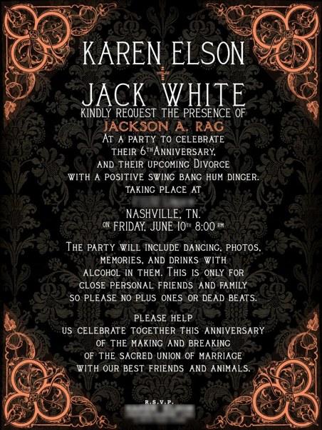 Karen Elson e Jack White fazem festa de divórcio