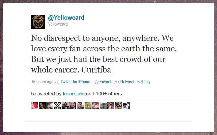 Yellowcard diz que plateia de Curitiba foi a melhor da carreira