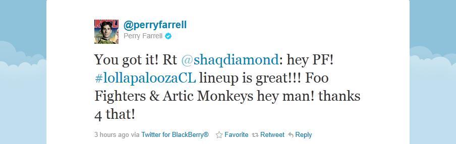 Confirmação de Perry Farrell no Twitter
