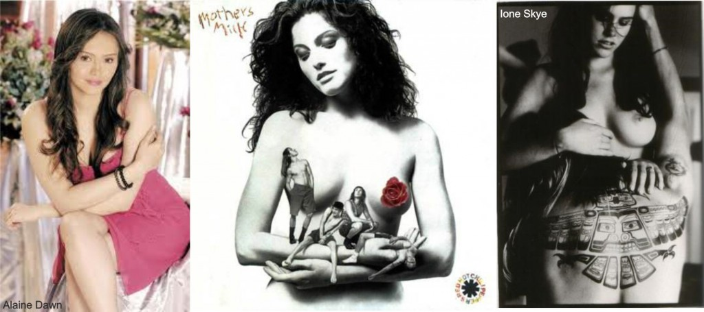 Capa do disco Mothers Milk com a modelo Alaine Dawn