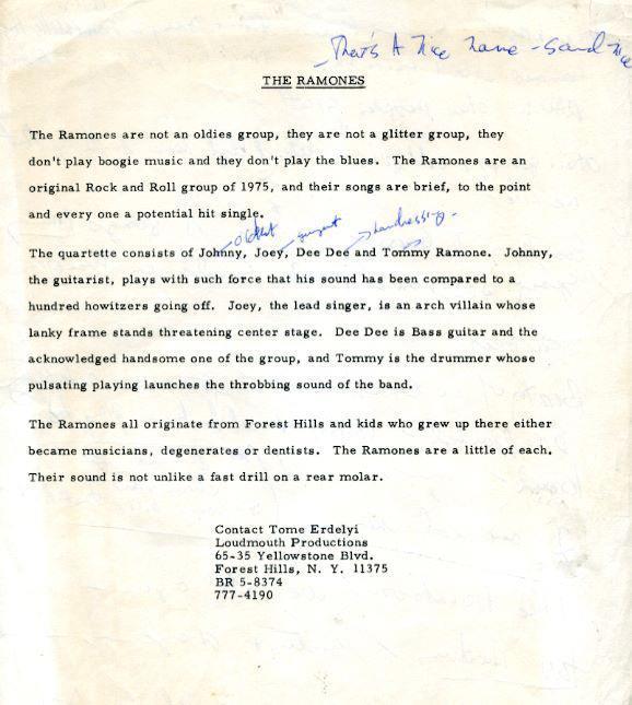 Release de imprensa do Ramones