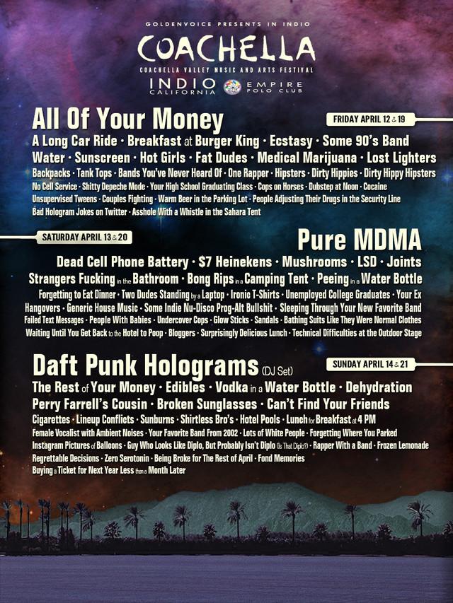 Coachella 2013, line-up feito pelo Funny or Die