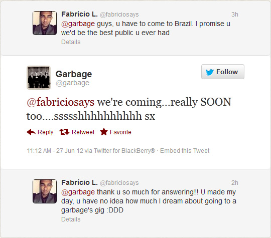 Garbage deve vir ao Brasil muito em breve