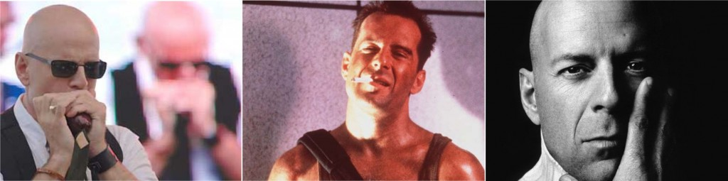 Bruce Willis arrebentando na gaita com sua banda de blues