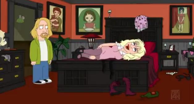 Kurt Cobain e Courtney Love em The Cleveland Show