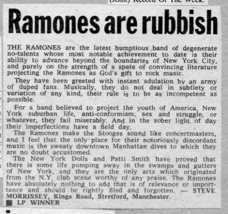 Morrissey diz que Ramones são horríveis