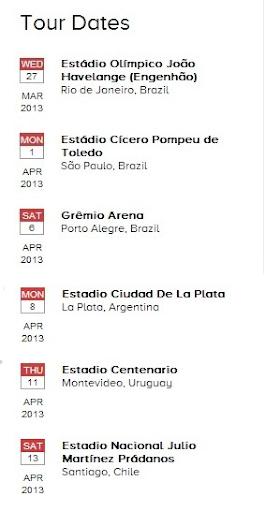 Possíveis datas do Coldplay no Brasil em 2013
