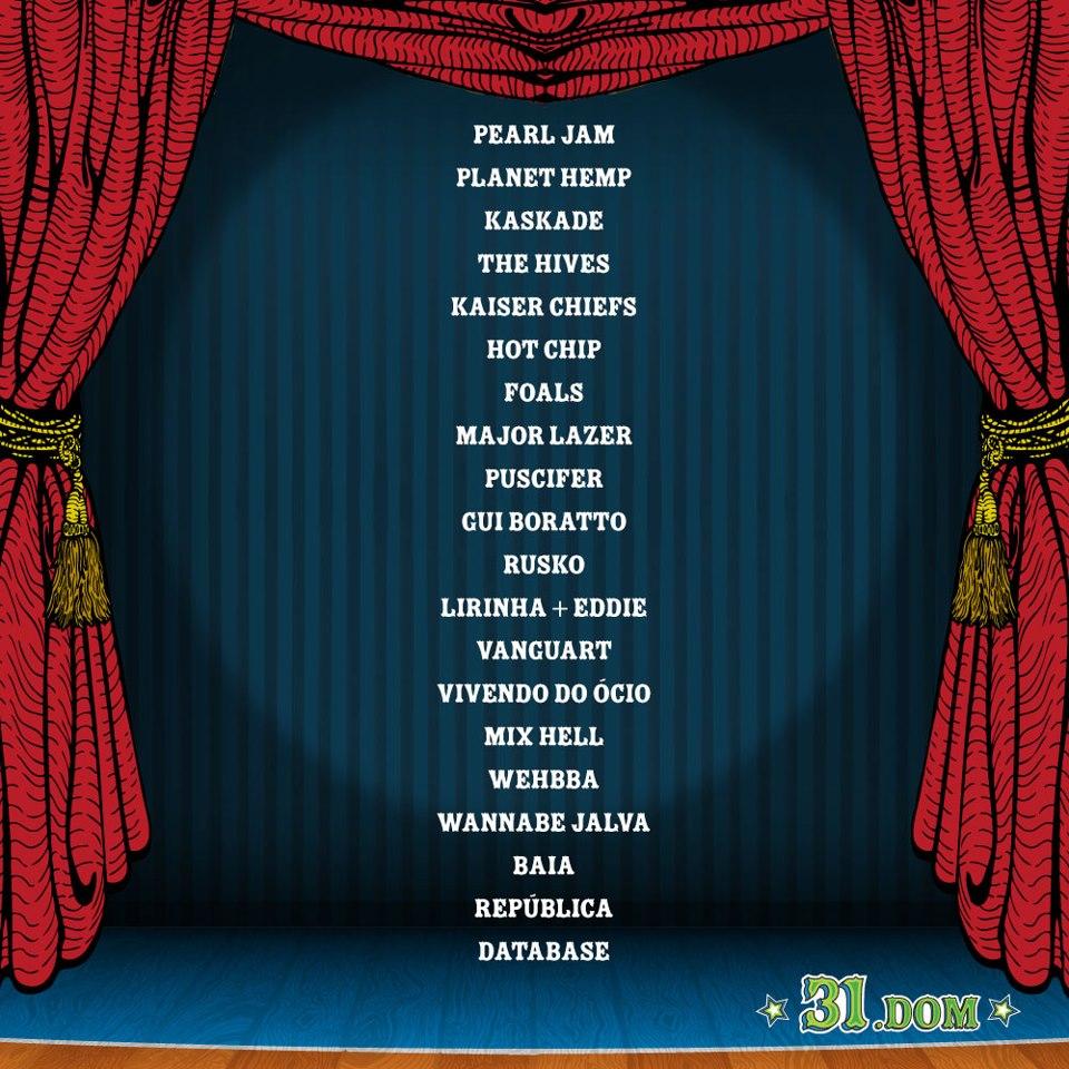 Line-up Lollapalooza Brasil, 31 de Março de 2013