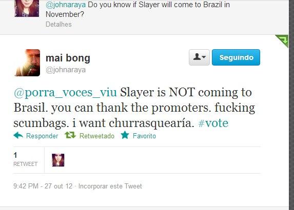 Slayer twitte