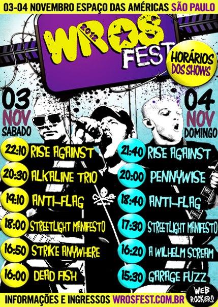 Horários das bandas do WROS Fest