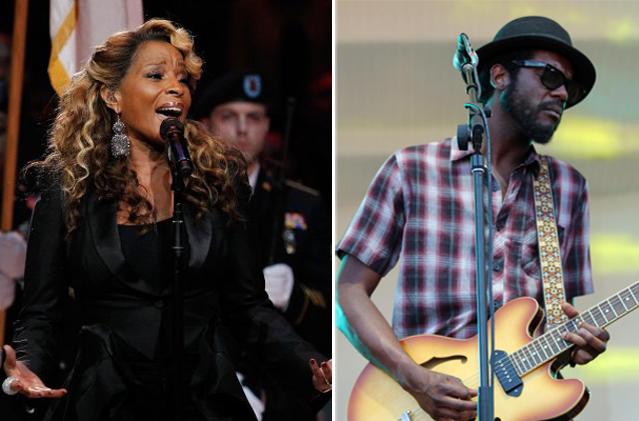 Mary J. Blige e Gary Clark Jr.no show dos Rolling Stones