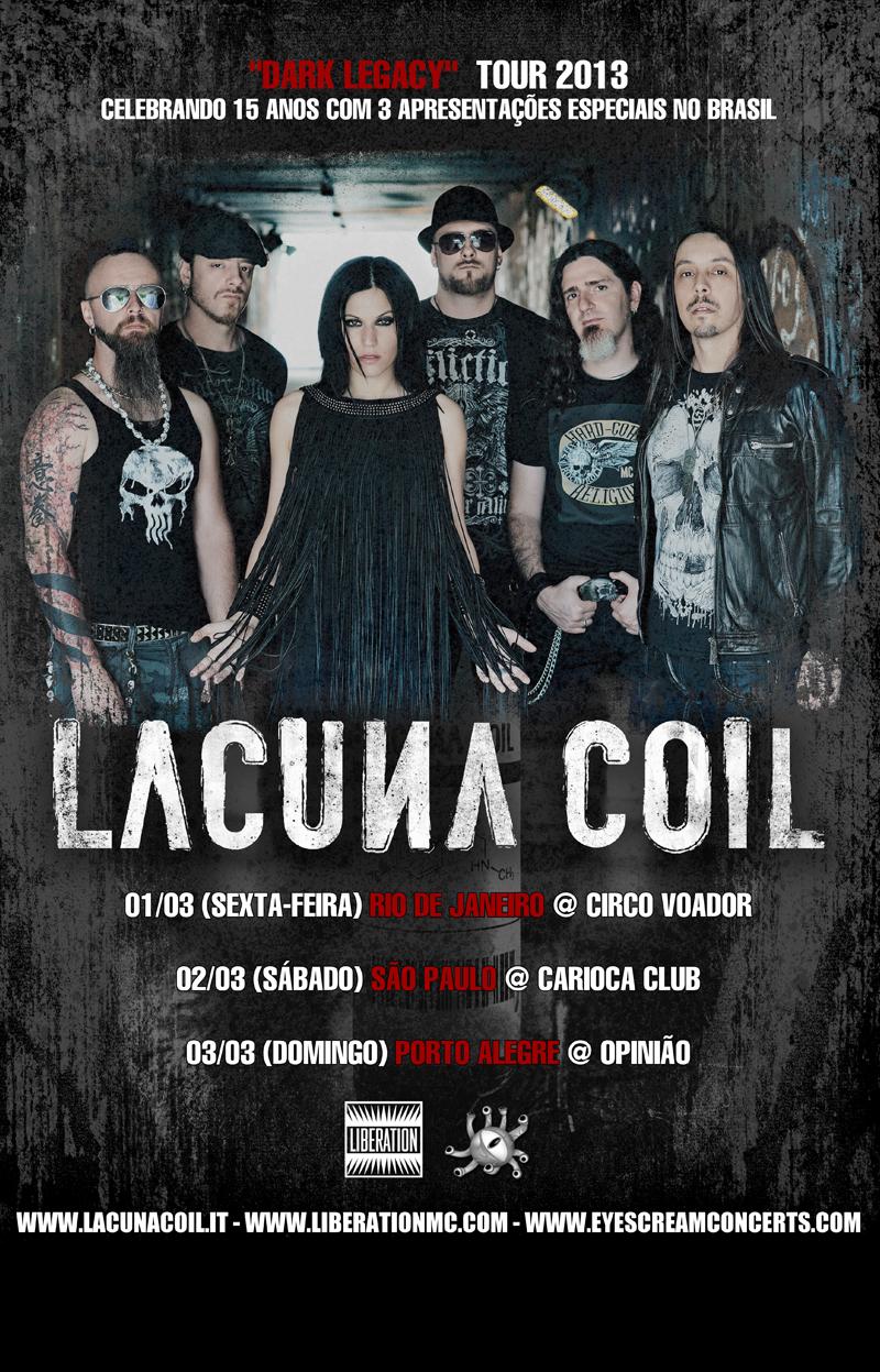 Cartaz Lacuna Coil no Brasil