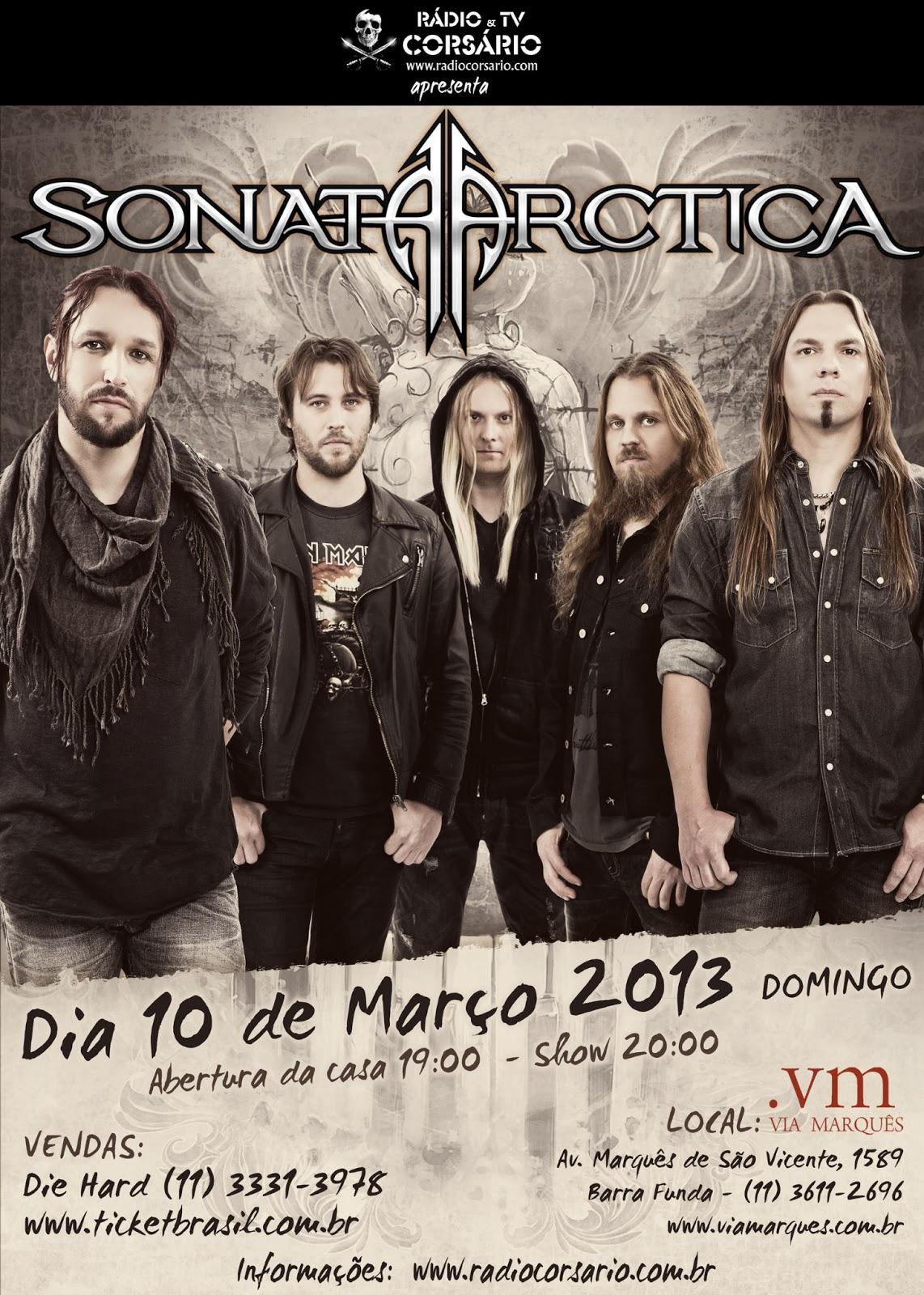 Sonata Artica se apresenta em São Paulo