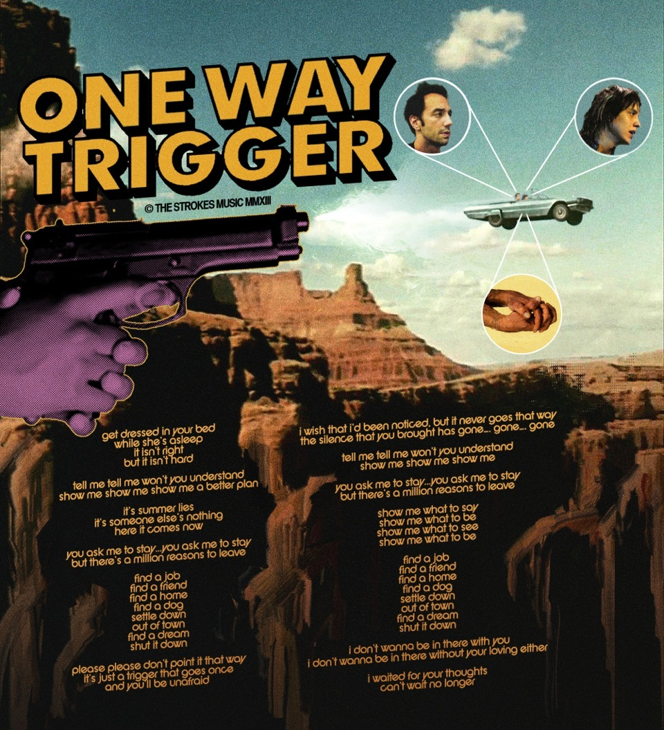 "Pôster de ""One Way Trigger"" do Strokes"