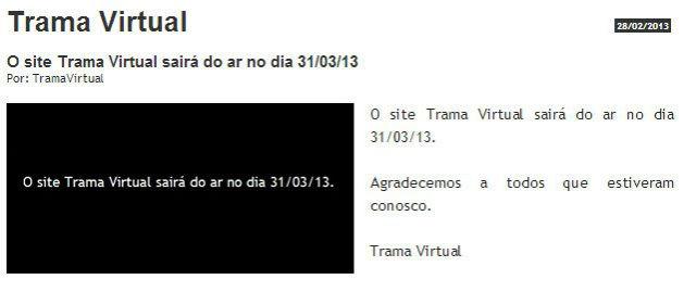 TramaVirtual sairá do ar no final de Março