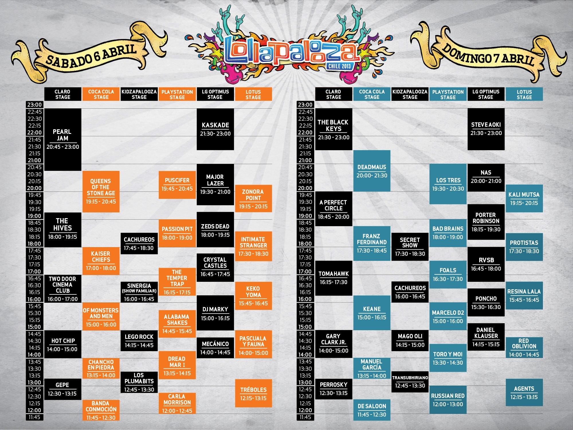 Horários do Lollapalooza Chile 2013