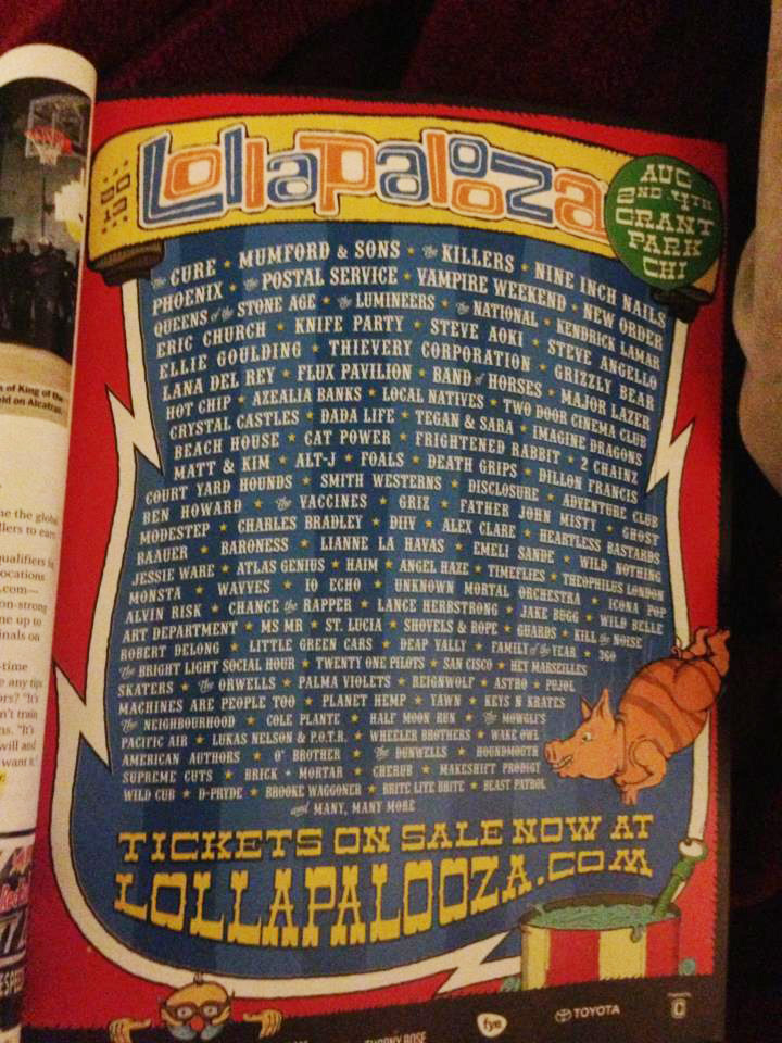 Lineup do Lollapalooza Chicago 2013 vaza