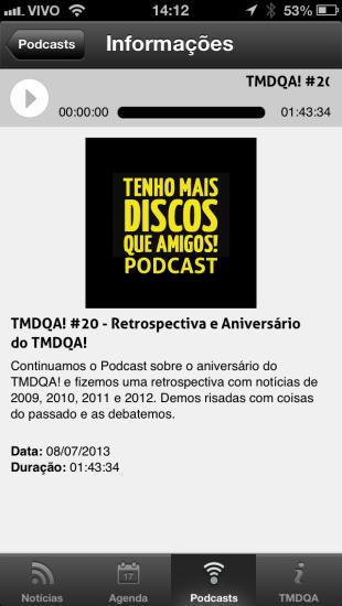 Podcasts no app do TMDQA!