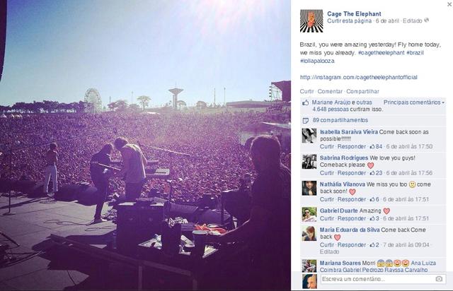 Bandas agradecem público nas redes sociais após Lollapalooza Brasil