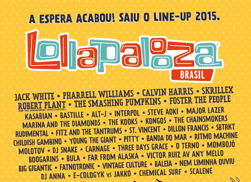 Line-up Lollapalooza Brasil 2015