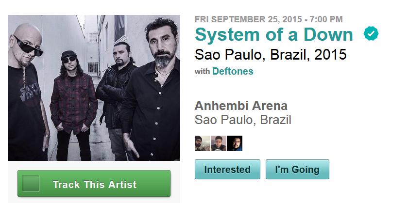 System of A Down e Deftones em São Paulo