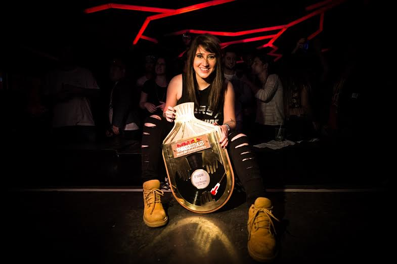 Dj Sinara poses for a portrait at Red Bull Thre3 Style National Final in Brasilia, Brazil on June 21st, 2015