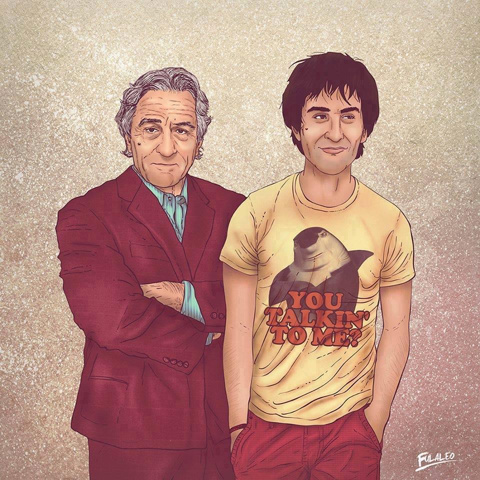 """Ilustração de """"encontro"""" do Robert De Niro novo com Robert De Niro mais velho"""