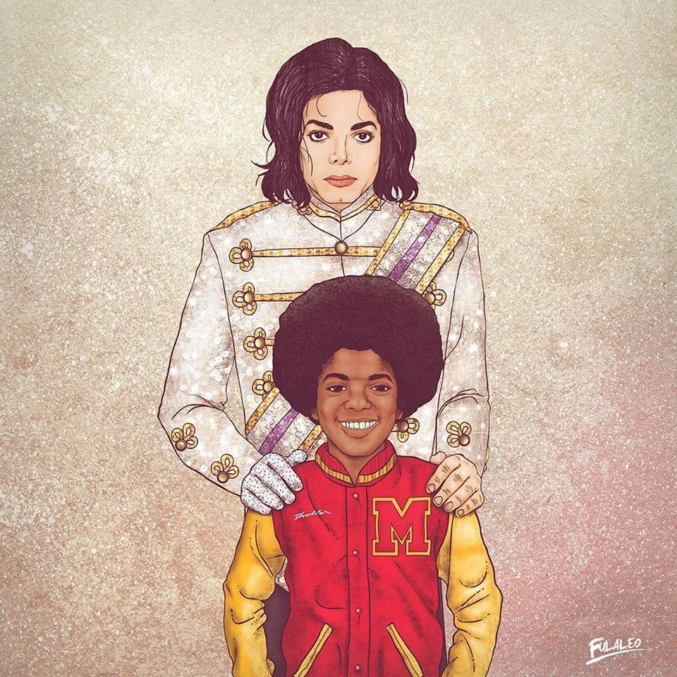 """Ilustração de """"encontro"""" do Michael Jackson novo com Michael Jackson mais velho"""
