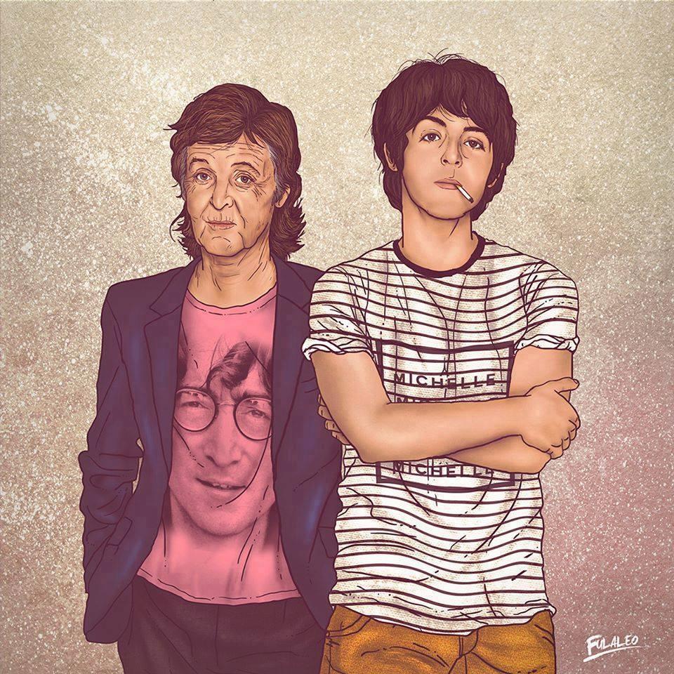 """Ilustração de """"encontro"""" do Paul McCartney novo com Paul McCartney mais velho"""