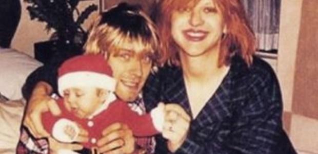 Courtney Love, Kurt Cobain e Frances Bean Cobain no Natal