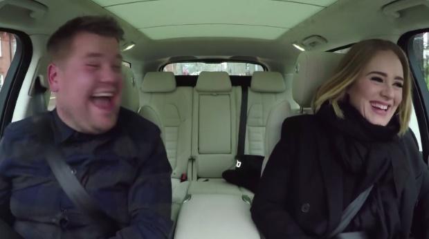 Adele canta em carona com James Corden