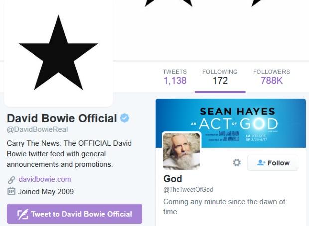"""Perfil de David Bowie no Twitter segue o perfil de """"Deus"""""""