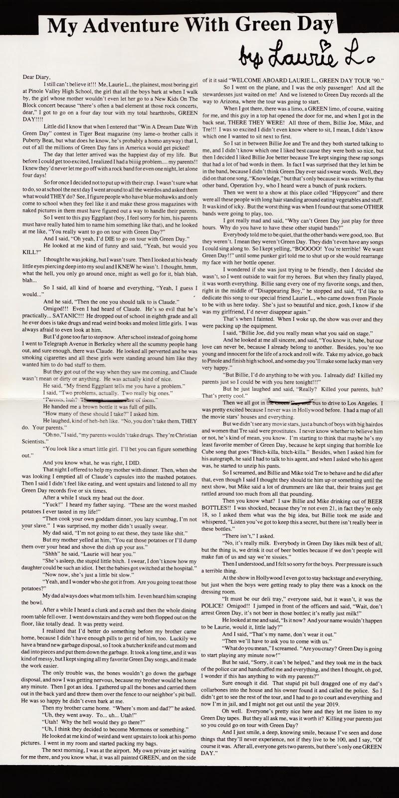 Green Day: a história de Laurie L. no encarte de Kerplunk