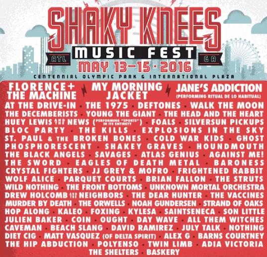 Line-up do Shaky Knees 2016