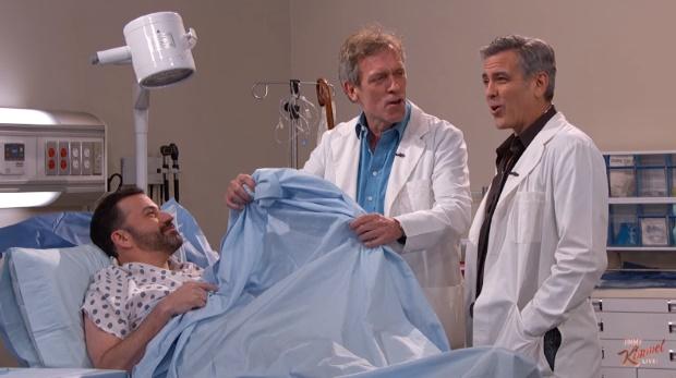 """Jimmy Kimmel promove """"reunião"""" de E.R. com George Clooney e Hugh Laurie"""