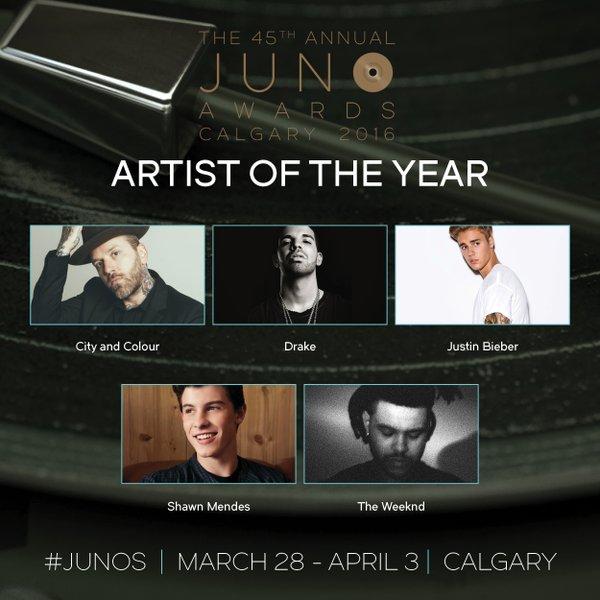 Indicados na categoria Artista do Ano no JUNO Awards 2016