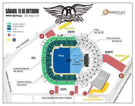 Mapa do show do Aerosmith em São Paulo
