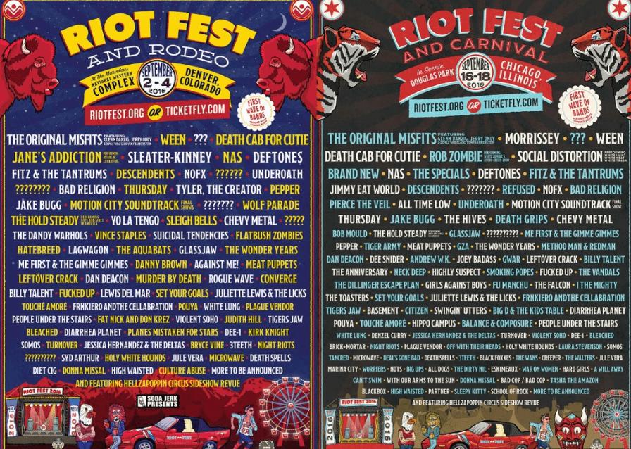 Riot Fest em Denver e Chicago