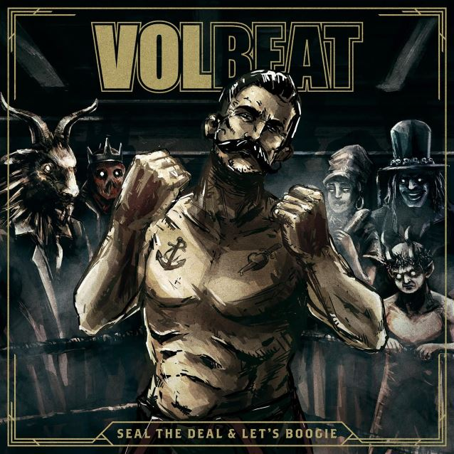 "capa do novo disco do volbeat, ""seal the deal & let's boogie"""